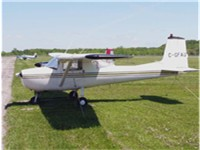 A 1965 Cessna 150E. The 1964 model 150D and the 150E introduced Omni-Vision rear windows on the Mode