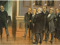 On the threshold of office, what have we to expect of him? In an 1881 Puck cartoon, Vice President A
