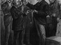 Arthur being administered the oath of office as President by Judge John R. Brady at his home in New 