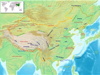 Main geographic features and regions of China.