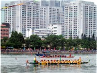 Dragon boat racing, a popular traditional Chinese sport.
