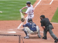 Jones swings at a pitch.