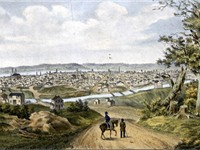 Cincinnati in 1841 with the Miami and Erie Canal in the foreground.