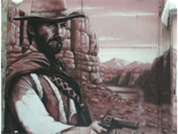a mural of Clint Eastwood
