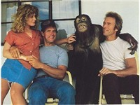 with Beverly D'Angelo, Geoffrey Lewis and Clyde the orangutan in Every Which Way but Loose