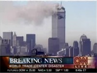 CNN breaking the news about the September 11, 2001 attacks.