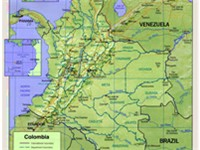 Shaded relief map of Colombia.