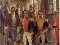 Francisco de Paula Santander, Sim n Bolivar and other heroes of the Independence of Colombia in the 
