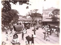 Colombo street in the early 20th century with a tramcar