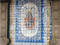 Tile mosaic on Coyoacan coat of arms on the Federal District buildings in Mexico City