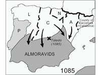 Map of the Iberian Peninsula at the time of the Almoravid arrival in the 11th century- Christian Kin