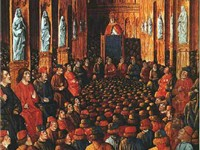 15th century painting of Pope Urban II at the Council of Clermont, where he preached an impassioned