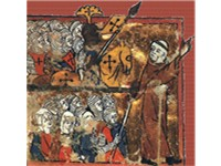 A medieval image of Peter the Hermit leading knights, soldiers and women toward Jerusalem during the