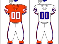 Denver Broncos uniform: 1968-1996. The team briefly wore orange pants with the road jerseys between