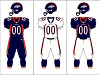 Denver Broncos uniform combination. The team primarily wore the navy blue pants for primetime home g