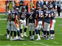 2008 Denver Broncos offense including Selvin Young, Jay Cutler and Brandon Marshall