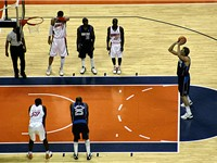 Nowitzki (far right) is an outstanding free throw shooter, connecting on over 87% of his attempts.