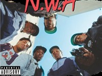 N.W.A.'s debut became a bestseller, despite its controversial content. Dre is second from right.