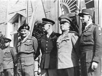 The Supreme Commanders on June 5, 1945 in Berlin: Bernard Montgomery, Dwight D. Eisenhower, Georgy Z