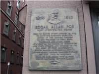This plaque marks the approximate location where Edgar Poe was born in Boston, Massachusetts.