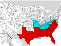 Areas covered by the Emancipation Proclamation are in red. Slave holding areas not covered are in bl