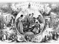 Emancipation from Freedmen's viewpoint; illustration from Harper's Weekly 1865