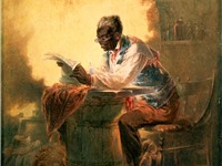 "Henry Louis Stephens, untitled watercolor (c. 1863) of a man reading a newspaper with headline ""Pres"