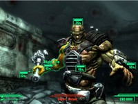 V.A.T.S. shown being used. Real-time action is stopped and the player can see the probability of hit