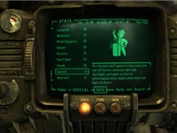 The Pip-Boy 3000, displaying the player's skills statistics.