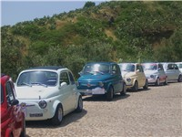 A row of restored vintage Fiat 500s at a car meet of the Fiat 500 Club Italia in Sicily, 2009