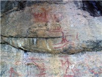 Astuvansalmi rock paintings at Saimaa, the oldest dating from 3000-2500 BC.