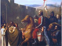 Baldwin of Boulogne depicted entering Edessa in 1098. He is shown being welcomed by the Armenian cle