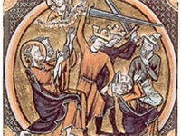 This illustration from a 1250 French Bible is thought by some to depict Jews (identifiable by Judenh