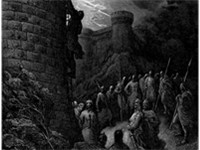 Bohemond of Taranto alone mounts the rampart of Antioch, an engraving by Gustave Dor .