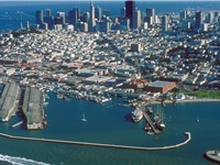 Aerial view of Fisherman's Wharf