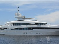 Luxury yacht Man of Steel in Fort Lauderdale s harbor