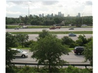 Interstate 95 as it passes through Fort Lauderdale.The city's skyline can be seen in the background.