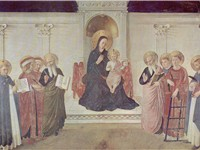 The Maest (Madonna enthroned) with Saints Cosmas and Damian, Saint Mark and Saint John, Saint Lawre