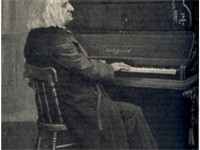 Liszt at the piano, an engraving based on a photograph by Louis Held, Weimar, 1885.