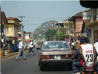 Main street in the east end of Freetown