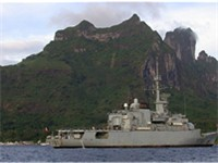 The French frigate Flor al, stationed in Bora Bora lagoon.