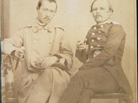 Dostoyevsky (right) and the Kazakhstani scholar Shokan Walikhanuli in 1859