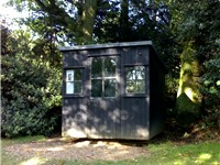 The movable hut in the garden of Shaw's Corner, where Shaw wrote most of his works after 1906, inclu