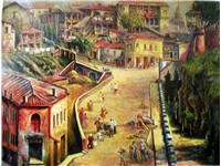 Impressionistic painting of Old Town district of Tbilisi by Elene Akhvlediani.