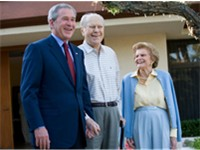 Then-President George W. Bush with Ford and his wife Betty on April 23, 2006. This is the last known