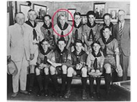 Eagle Scout Gerald Ford (circled in red) in 1929. Michigan Governor Fred Green at far left, holding