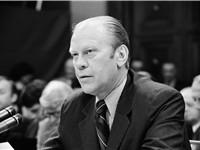 President Ford appears at a House Judiciary Subcommittee hearing regarding his pardon of Richard Nix