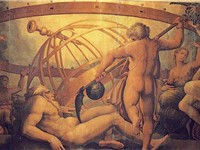 The Castration of Uranus: fresco by Vasari & Cristofano Gherardi (c. 1560, Sala di Cosimo I, Palazzo
