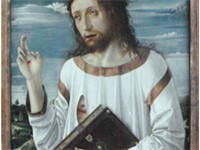 Le Christ B nissant, 1465-1470. Notice the tunique hem extensively decorated with pseudo-Kufic (see