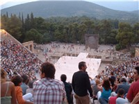 The ancient theatre of Epidaurus is nowadays used for staging ancient Greek drama shows